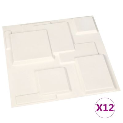 vidaXL Väggpaneler 3D 12 st 0,5x0,5 m 3 m²