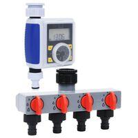 vidaXL Digital bevattningstimer med en utgång och vattenfördelare