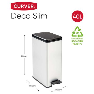 Curver Deco Pedalhink slimmad 40 L silver 240640