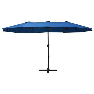vidaXL Trädgårdsparasoll med aluminiumstång 460x270 cm blå