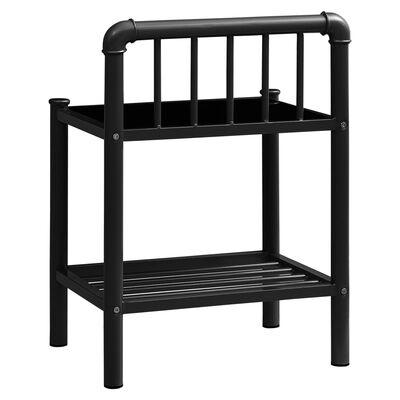 vidaXL Sängbord 2 st svart metall och glas