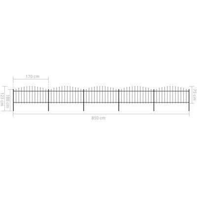 vidaXL Trädgårdsstaket med spjuttopp stål (0,5-0,75)x8,5 m svart