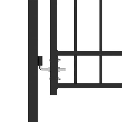 vidaXL Trädgårdsgrind med spjut stål 100x125 cm svart