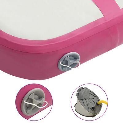 vidaXL Uppblåsbar gymnastikmatta med pump 60x100x10 cm PVC rosa