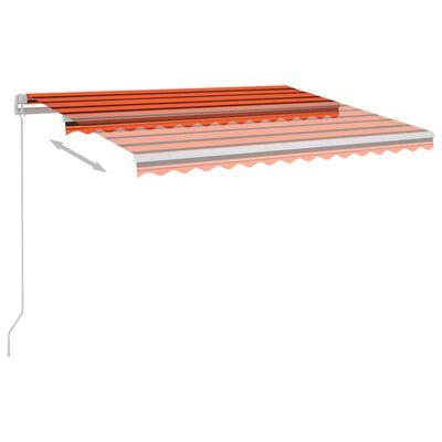 vidaXL Markis manuellt infällbar med LED 350x250 cm orange och brun , orange och brun