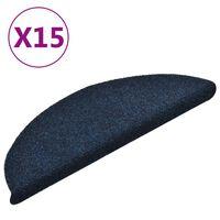 vidaXL Trappstegsmattor självhäftande 15 st marinblå 56x17x3 cm brodyr