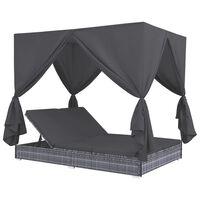 vidaXL Solsäng med gardiner konstrotting grå
