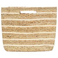 vidaXL Shoppingväska naturfärgad med ränder handgjord jute