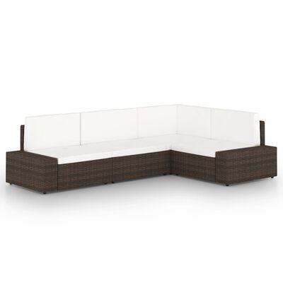 vidaXL Loungegrupp för trädgården 4 delar konstrotting brun