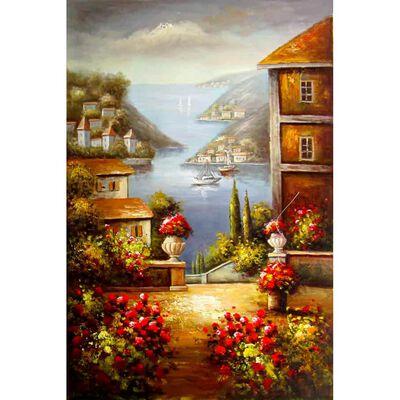 Landskap i medelhavet, 90x60 cm oljemålning