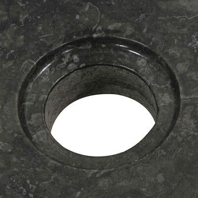 vidaXL Badrumsunderskåp teak med handfat marmor svart