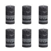 Bolsius Blockljus 130x68 mm antracit 6-pack