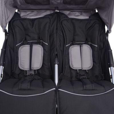 vidaXL Tvillingvagn stål grå och svart