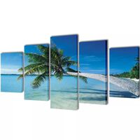 Uppsättning väggbonader på duk: strand med palm 100 x 50 cm