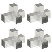 vidaXL Stolpbeslag 4 st X-form galvaniserad metall 81x81 mm