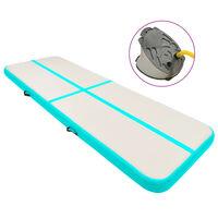 vidaXL Uppblåsbar gymnastikmatta med pump 500x100x15 cm PVC grön