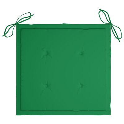 vidaXL Trädgårdsstolar med gröna dynor 4 st massiv teak