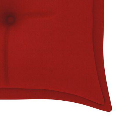 vidaXL Trädgårdsbänk med röd dyna 150 cm massiv teak