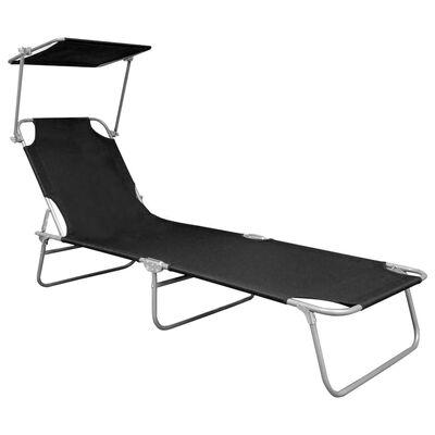 vidaXL Hopfällbar solsäng med tak svart aluminium