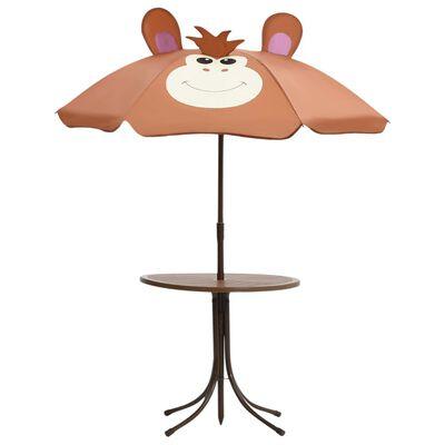vidaXL Caféset för barn med parasoll 3 delar brun