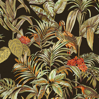 DUTCH WALLCOVERINGS Tapet Bird-of-Paradise svart
