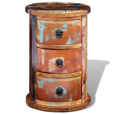 vidaXL Rund byrå med 3 lådor återvunnet trä