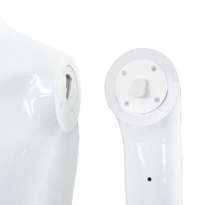 vidaXL Skyltdocka man helkropps med bas i glas glansig vit 185 cm