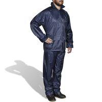 Regnställ med Huva Herrar Tvådelat Marinblå XL, Blå