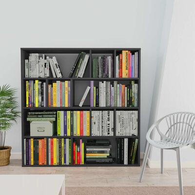 vidaXL Rumsavdelare/bokhylla grå 110x24x110 cm spånskiva