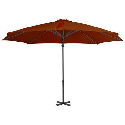vidaXL Frihängande parasoll med aluminiumstång terrakotta 300 cm,