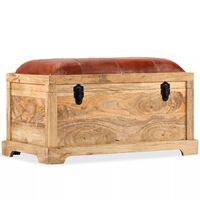 vidaXL Förvaringsbänk äkta läder och massivt mangoträ 80x44x44 cm