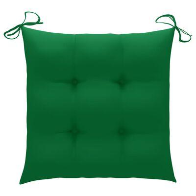 vidaXL Trädgårdsstolar 2 st med gröna dynor massiv teak