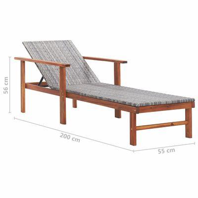 vidaXL Solsäng konstrotting och massivt akaciaträ grå
