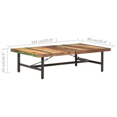 vidaXL Soffbord 142x90x42 cm massivt återvunnet trä