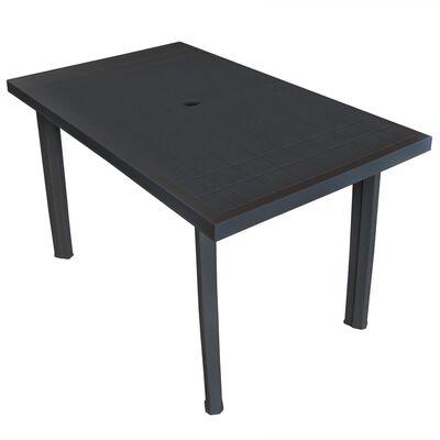 vidaXL Trädgårdsbord antracit 126x76x72 cm plast