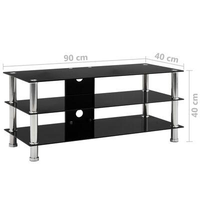 vidaXL TV-bänk svart 90x40x40 cm härdat glas