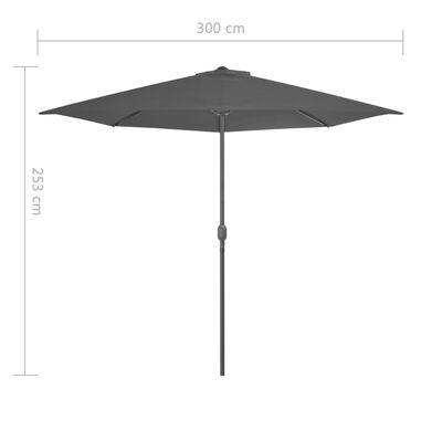 vidaXL Balkongparasoll m. aluminiumstolpe antracit 300x150 cm halvrunt