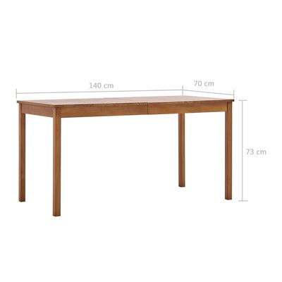 vidaXL Matbord honungsbrun 140x70x73 cm furu