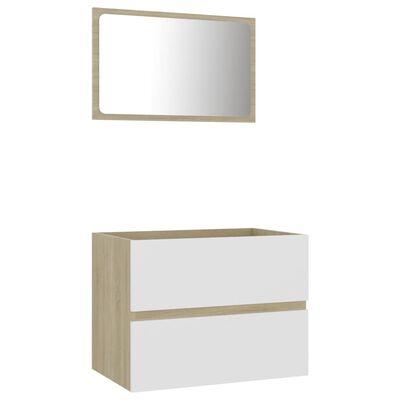 vidaXL Badrumsmöbler set 2 delar vit och sonoma-ek spånskiva