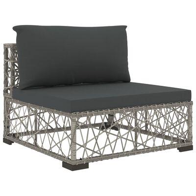 vidaXL Loungegrupp för trädgården med dynor 10 delar konstrotting grå