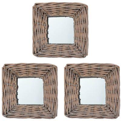 vidaXL Spegel 3 st 15x15 cm korgmaterial