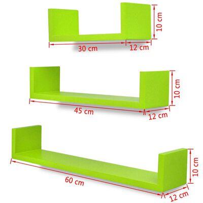 3 Flytande U-formade bok/CD-vägghyllor i MDF grön