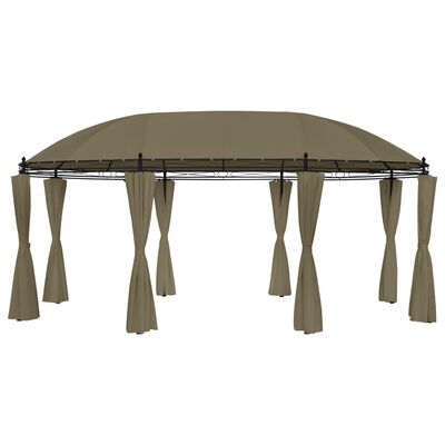 vidaXL Paviljong med draperier 5,3x3,5x2,65 cm taupe 180 g/m²