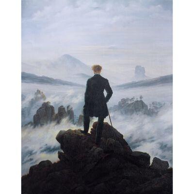 Wanderer Watching a sea of fog,Caspar David Friedrich,50x40cm