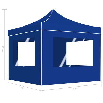 vidaXL Hopfällbart partytält med väggar aluminium 3x3 m blå