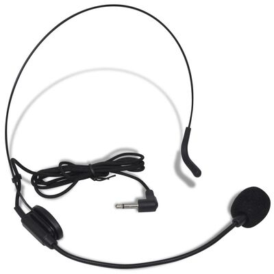 vidaXL Mottagare med 1 trådlös mikrofon och 1 trådlöst headset VHF