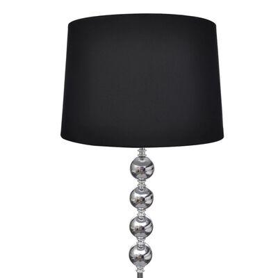 vidaXL Golvlampa med högt stativ och lampskärm svart