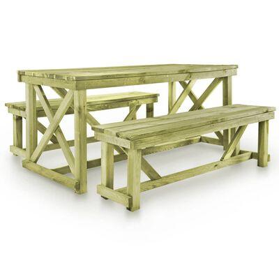 vidaXL Ölbord med 2 bänkar trä