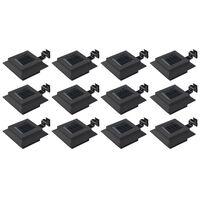 vidaXL Solcellslampor 12 st LED fyrkantiga 12 cm svart