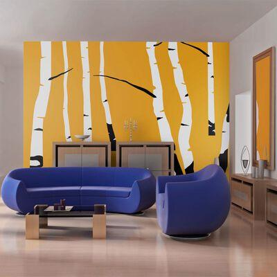 Fototapet - Birches On The Orange Background - 250x193 Cm